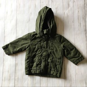 Baby Gap Hunter Green Flannel Lined Hooded Jacket